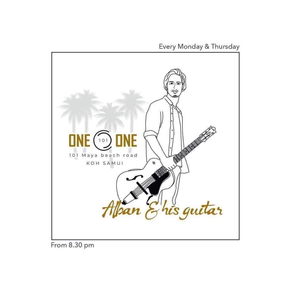 Alban Fritschmann, chanteur guitariste en concert au One O One a Lamai Beach (Koh Samui).
