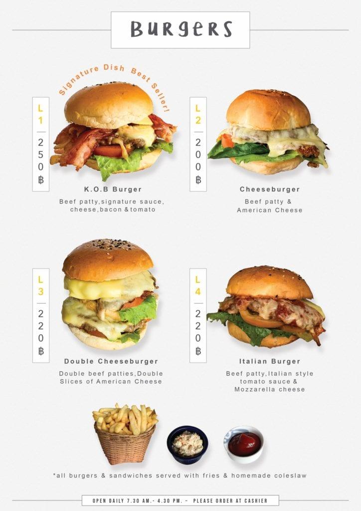 Carte des burgers et hamburgers servis avec frites et sauces maison au Café K.O.B a Koh Samui.