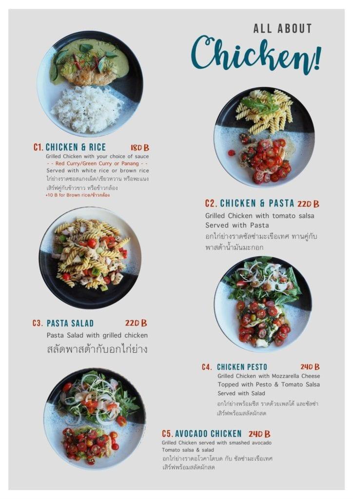 Menu avec du poulet et des pâtes, du riz en accompagnement.