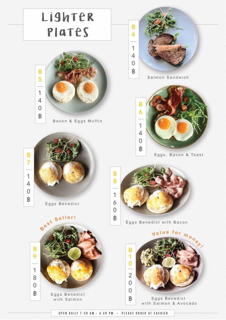 Menu avec des œufs pour le brunch au Café K.O.B a Koh Samui.