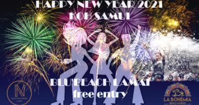 Annonce du Réveillon du Nouvel An 2021 à Lamai, Koh Samui