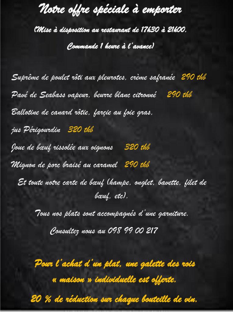 Offre spéciale à emporter. Les plats gastronomiques sous-vide du restaurant francais la Côte De Bœuf  a Koh Samui.